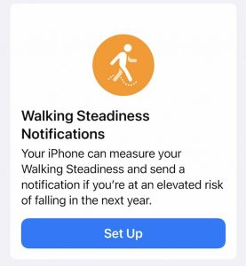 Set up Walking Steadiness feature on iPhone