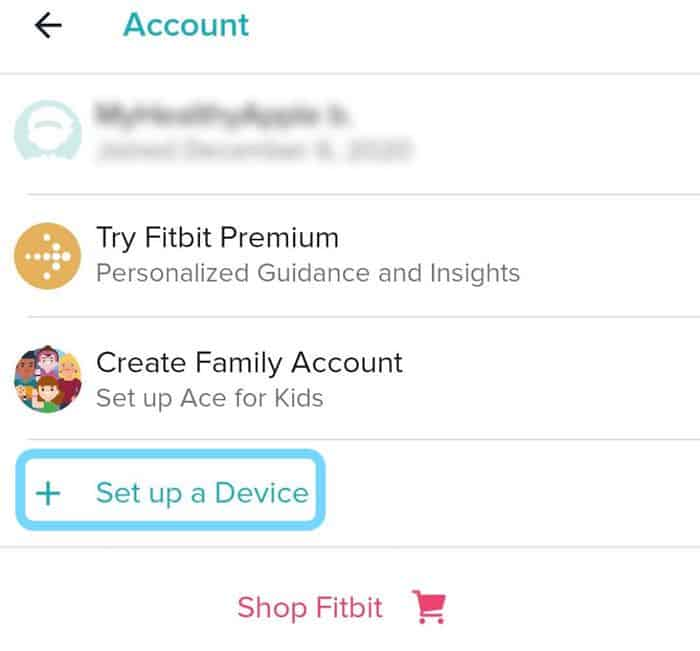 Fitbit app set up a new device