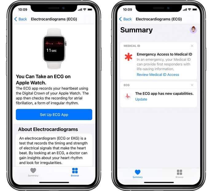 Update or set up ECG app on iPhone using Health app
