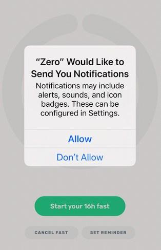 Zero app setting up notifications