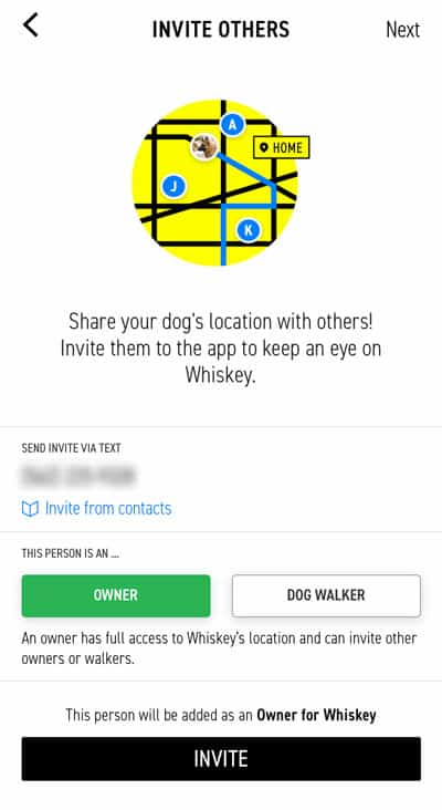 Invite others to share your dogs location with the Fi dog collar app