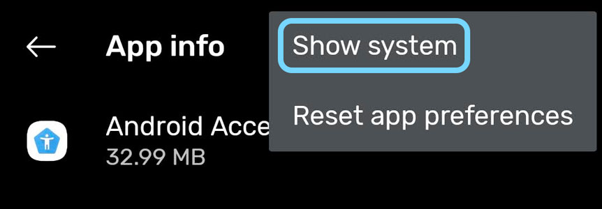 Android show system apps