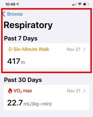 How to find Six minute walk score on Apple iPhone