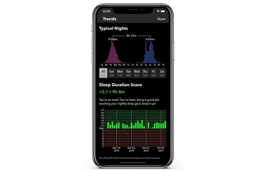Sleep trends in Sleep++ app on iPhone