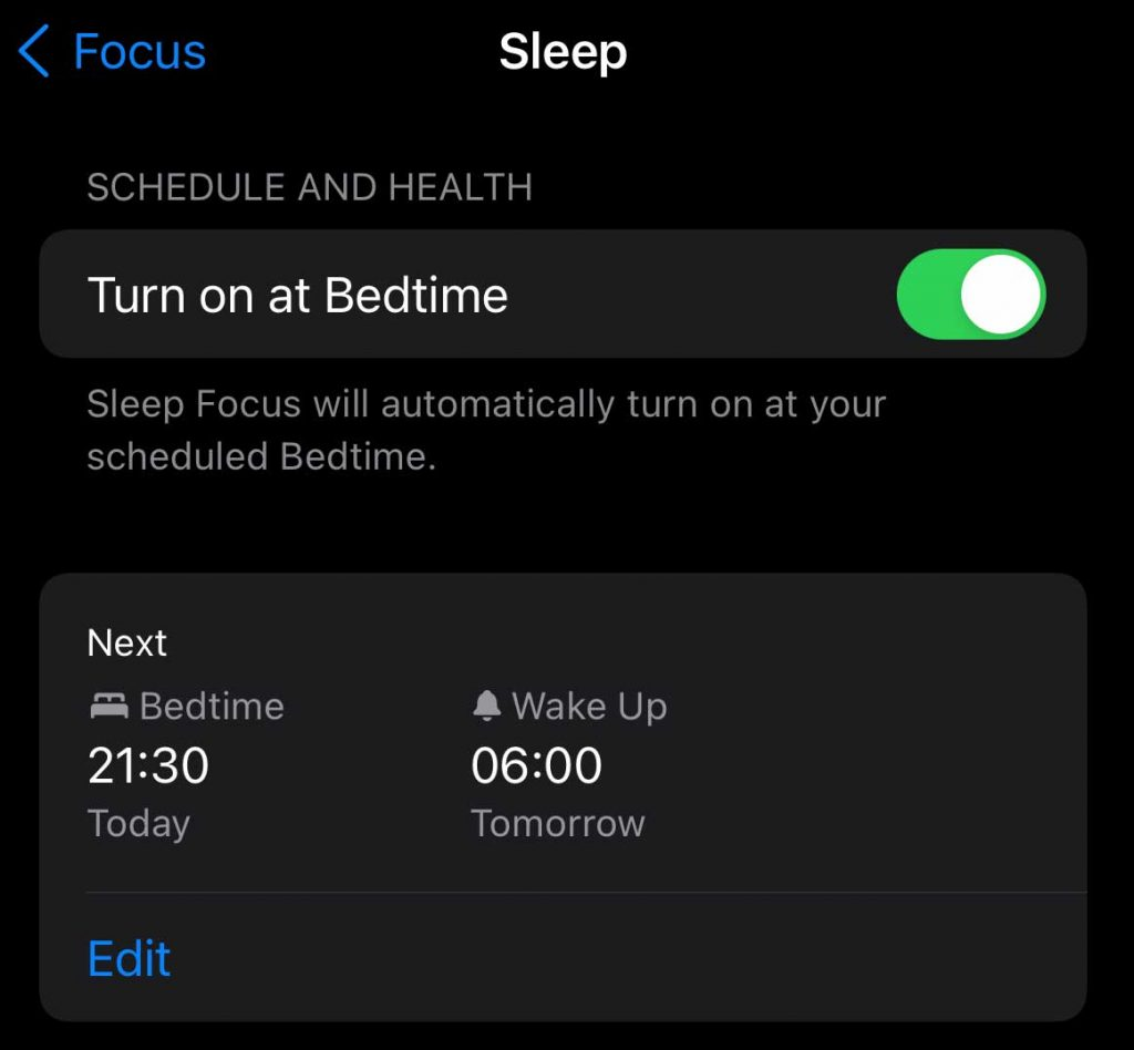 automatically turn your sleep focus on at bedtime with your sleep schedule