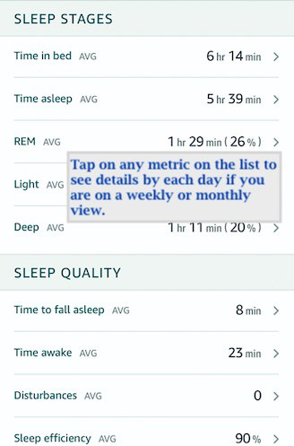 Sleep Metric details by day on Amazon halo