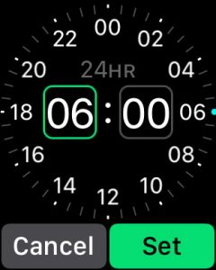 Select a wake up time on your Apple Watch for sleep mode using the digital crown