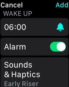 Set a wake up time in Sleep Mode for Apple Watch