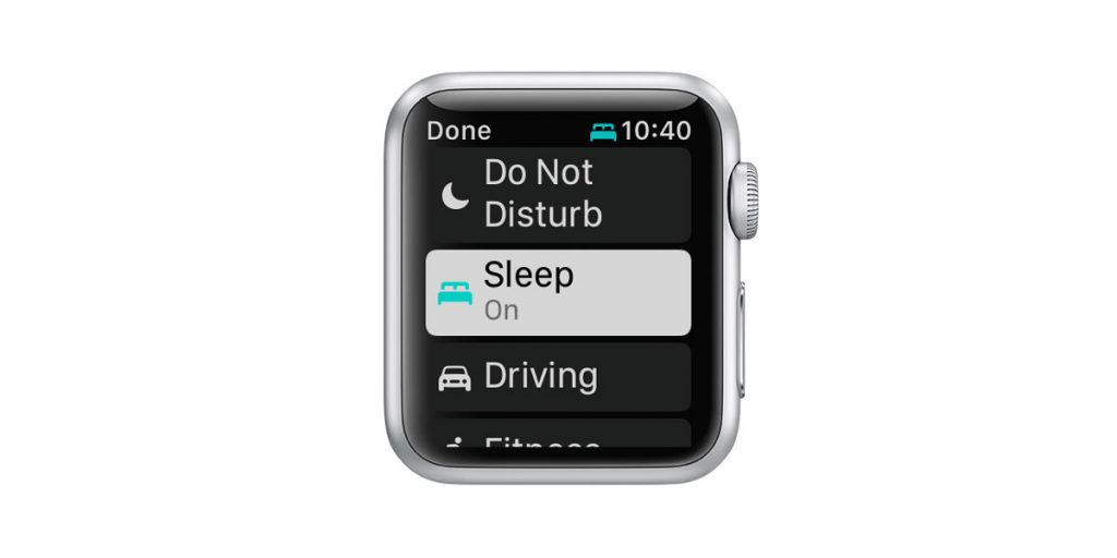 Apple Watch control center sleep mode on as the Focus and Do Not Disturb mode