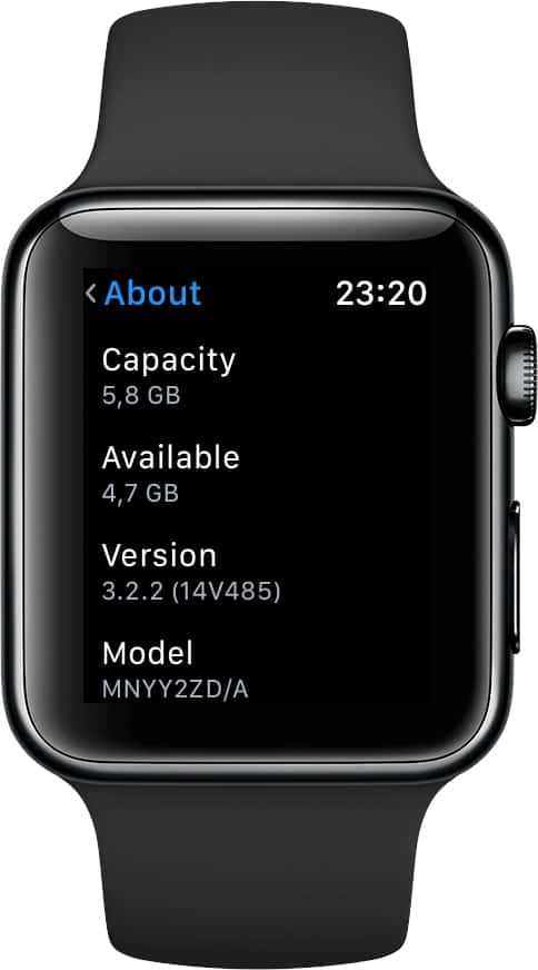 Apple watch storage