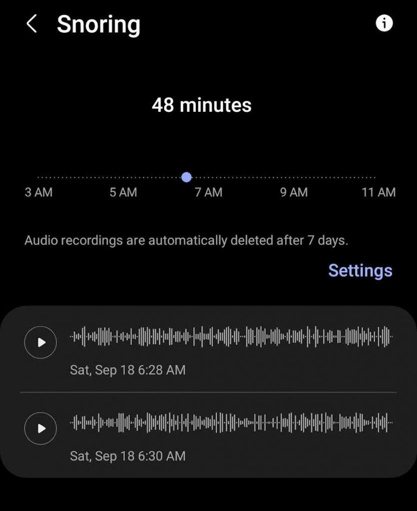 Samsung Health snoring audio recordings