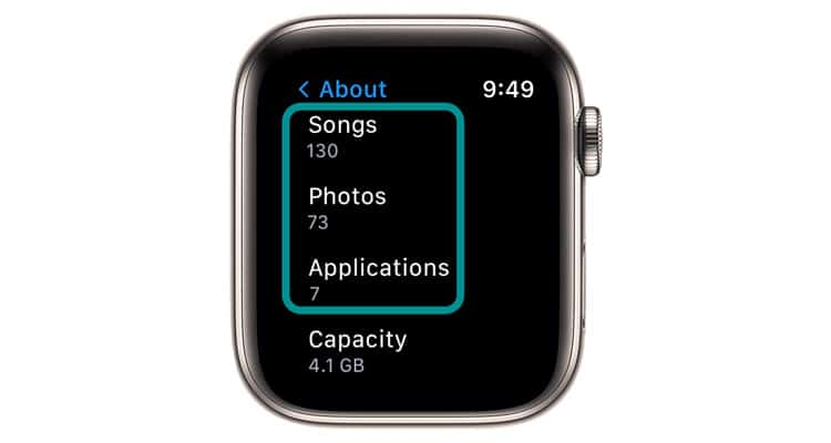 Apple Watch storage for songs, apps, and photos