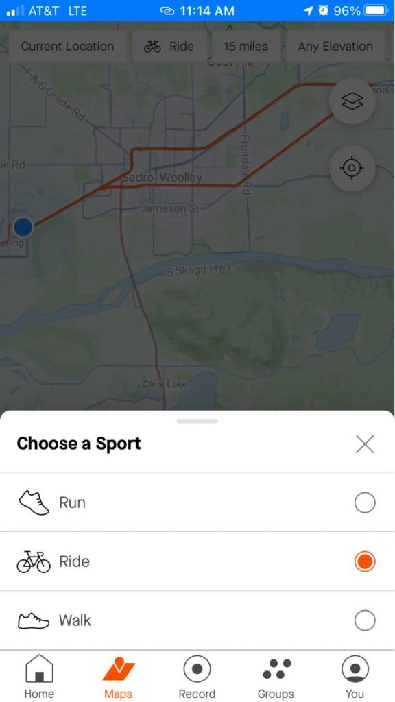 strava sport specific on mobile