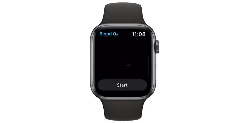 Start a blood oxygen SpO2 measurement on apple watch manually