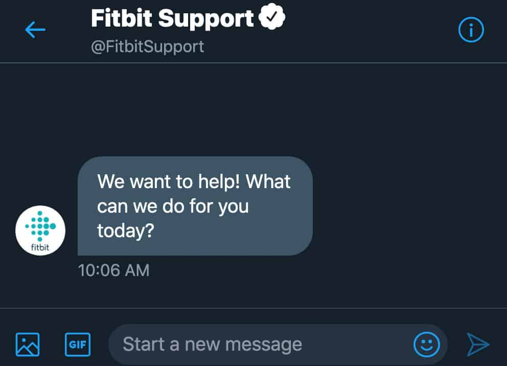 Tweet your issue to Fitbit Twitter account