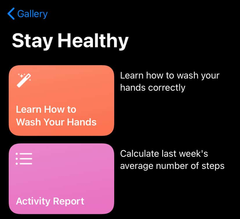 stay healthy shortcuts for iPhone