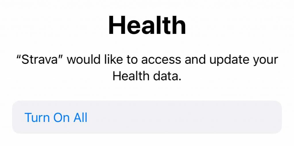 turn on all features for Strava and Apple Health app integration