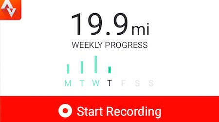 Strava weekly progress on home screen
