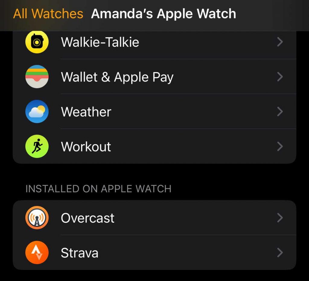 Strava apple watch app installed on Apple Watch