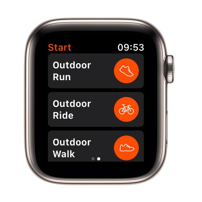 Strava workout options in Apple Watch app