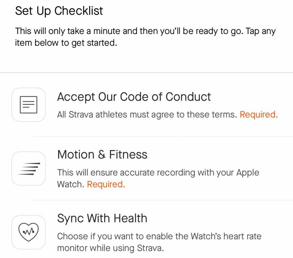 set up list in Strava for watch app