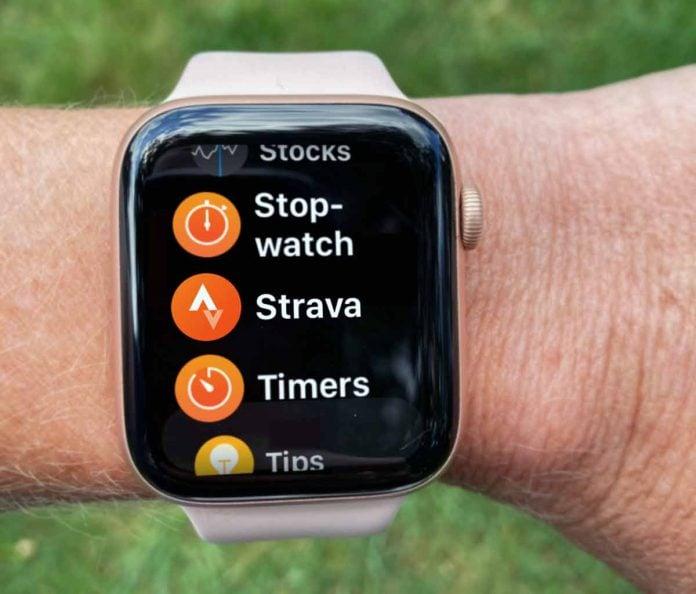 Apple Watch with Strava watch app