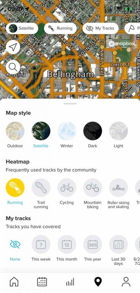 heat map in Suunto app for mobile
