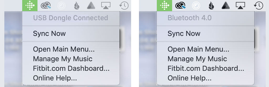 Fitbit Connect sync now options
