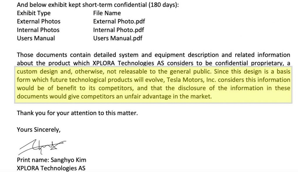 Tesla motors confidentiality request