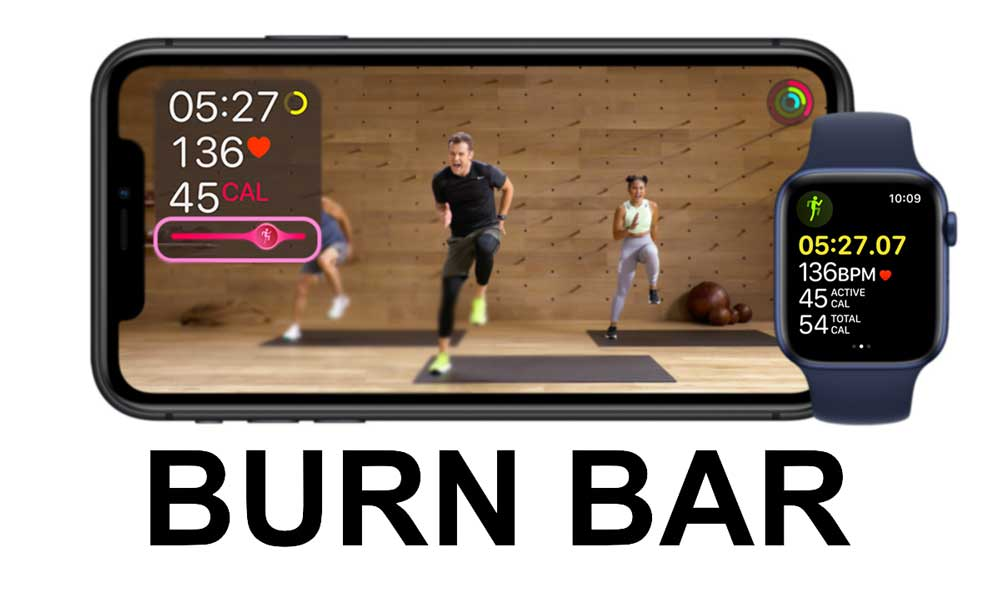 the Apple fitness+ burn bar on screen