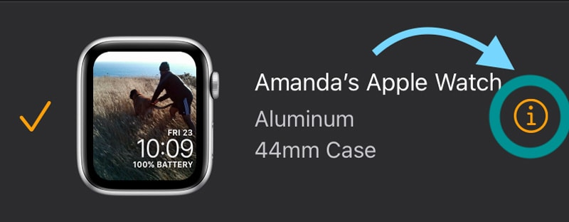 "apple watch info button ""i"" icon"