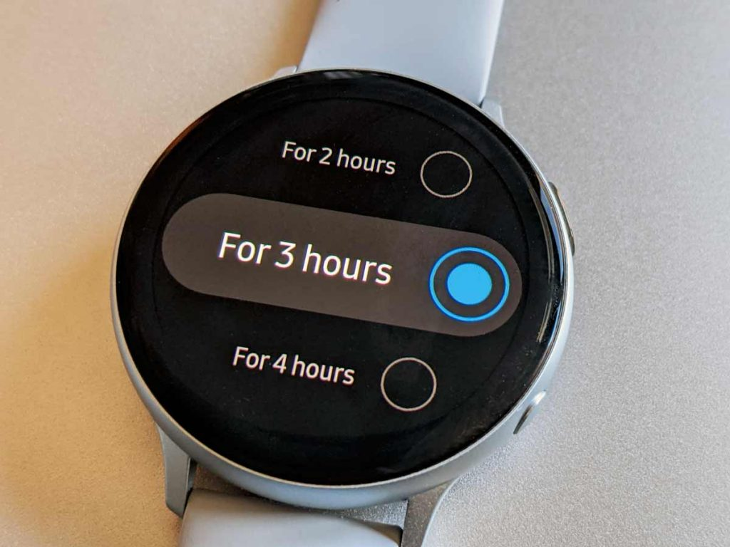 duration of theater mode on Samsung Galaxy watch