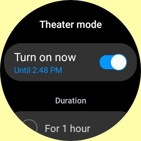 Galaxy watch 4 theater mode settings