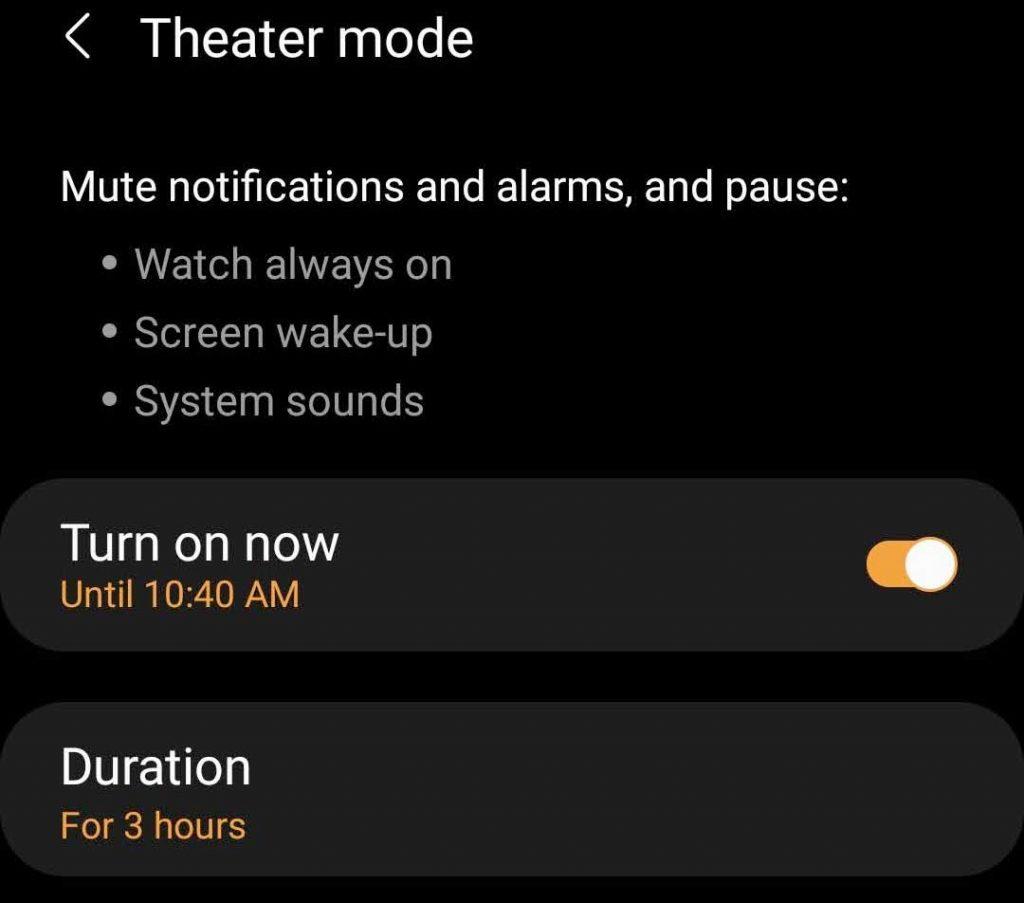 Galaxy Wearable app theater mode settings