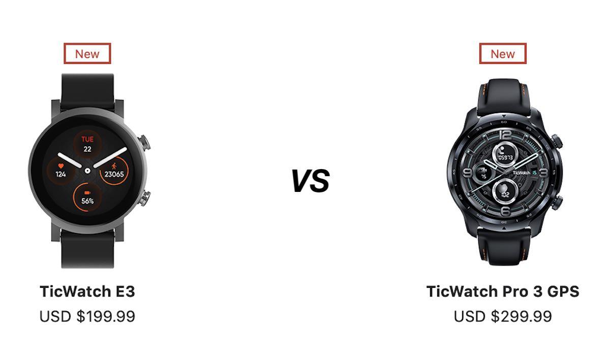 Ticwatch E3 vs Ticwatch Pro 3