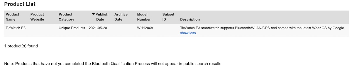 Ticwatch E3 clears Bluetooth qualifications