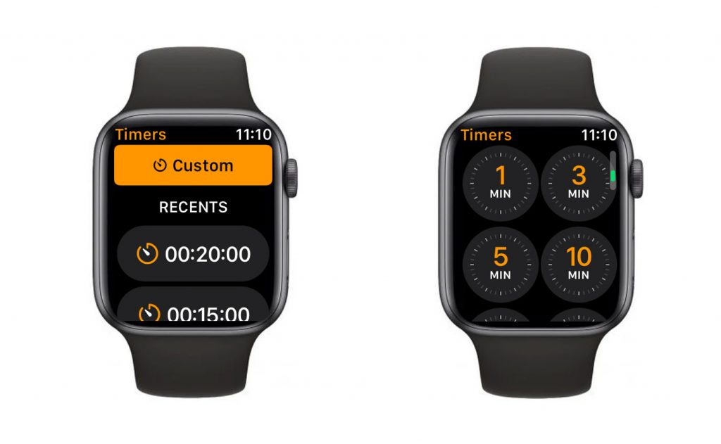 Apple Watch options for timer app settings and features