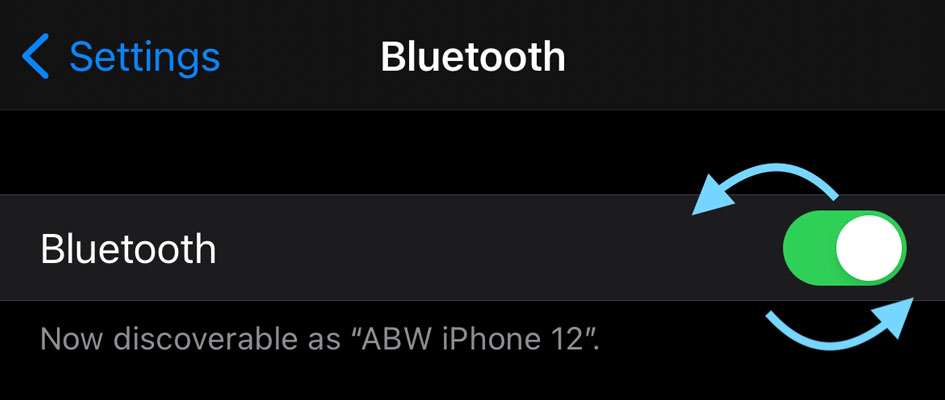 turn bluetooth off and on