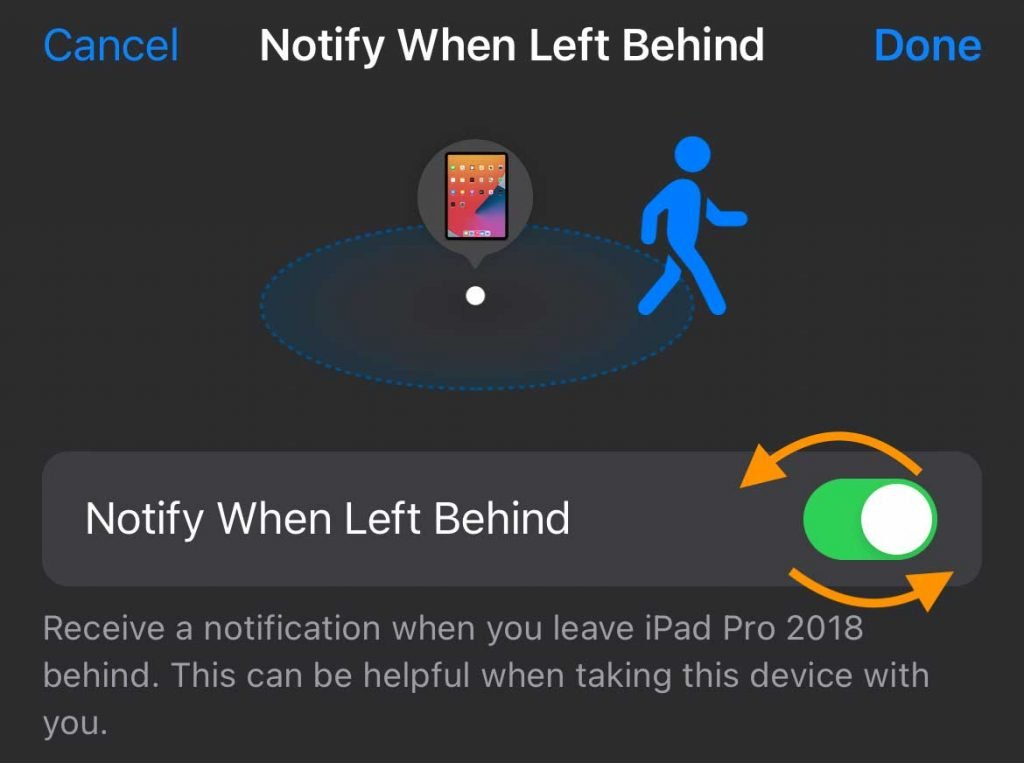 iPhone Find My app toggle Notify When Left Behind off and on