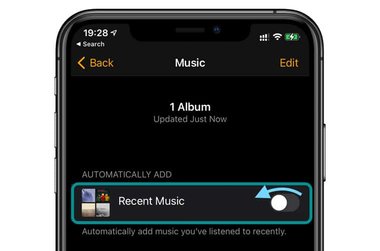 Toggle off recent music for Apple Watch