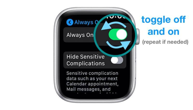 apple watch toggle settings for always on display to fix problems