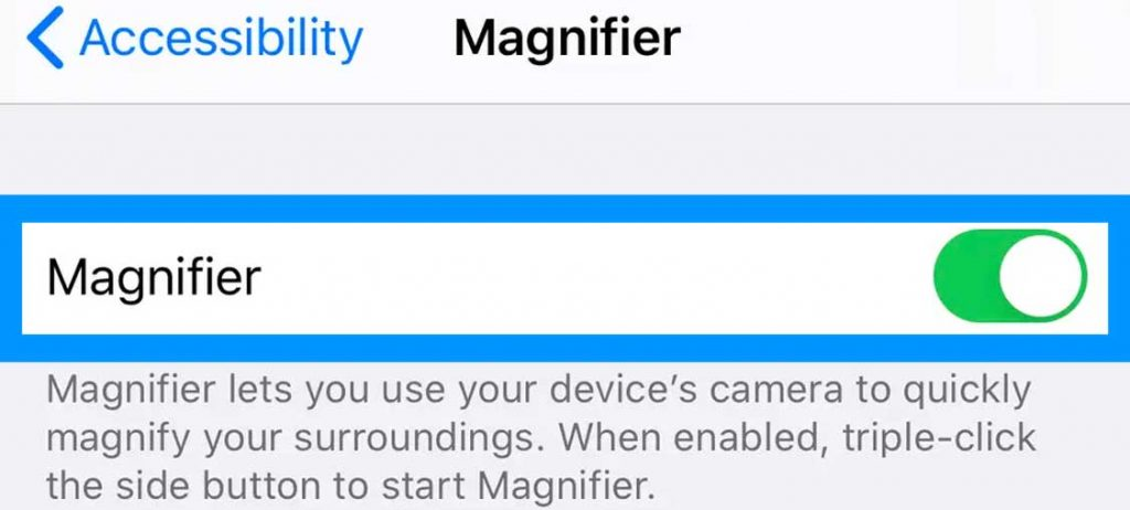 turn iPhone and iPad magnifier feature on