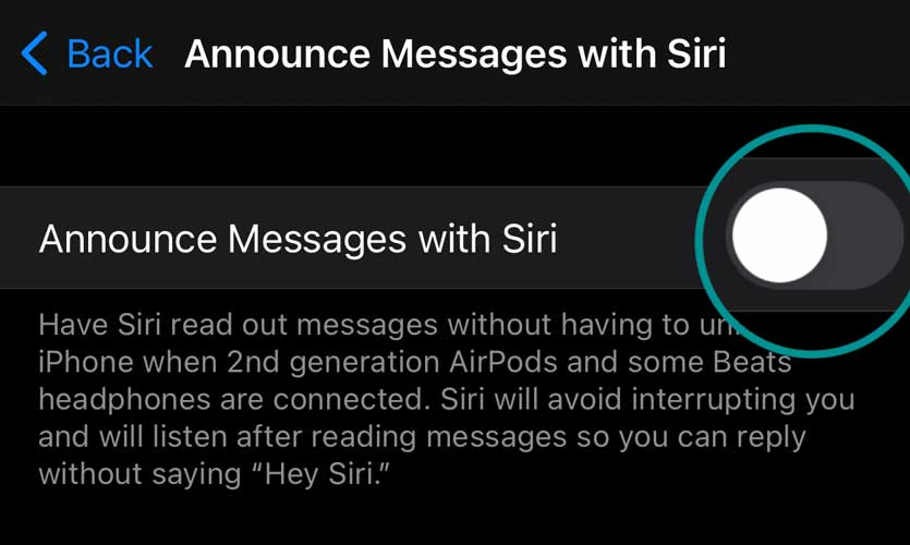 Turn off Announce Messages with Siri on iPhone