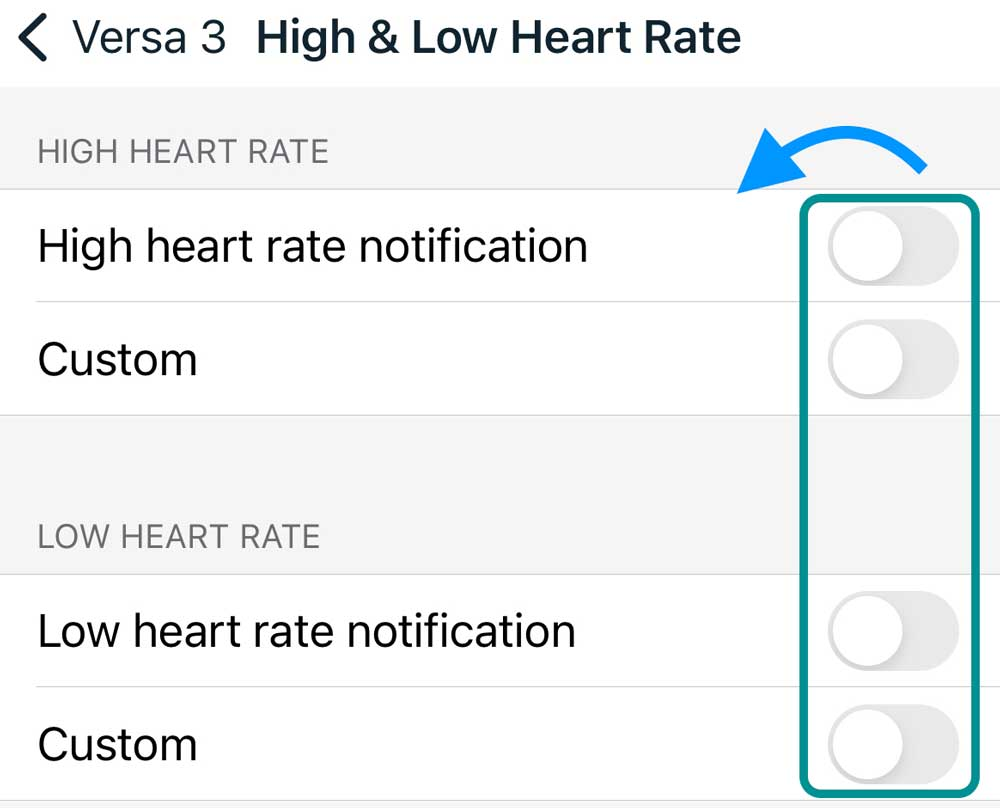 Turn off all low and high heart rate notifications on Fitbit