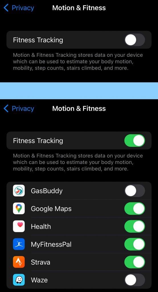 Turn off fitness tracking for apps or entirely on iPhone
