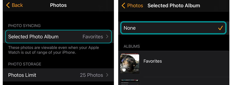 Turn off photo syncing between Apple Watch and iPhone to save on Apple Watch storage