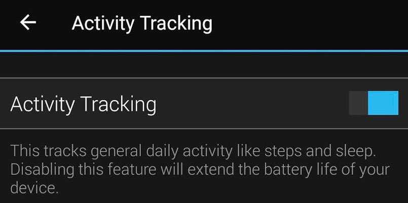 turn on Garmin activity tracking inside Garmin Connect app