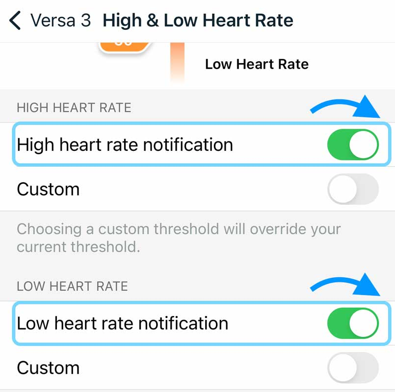 turn on notifications for your fitbit for high and low heart rates