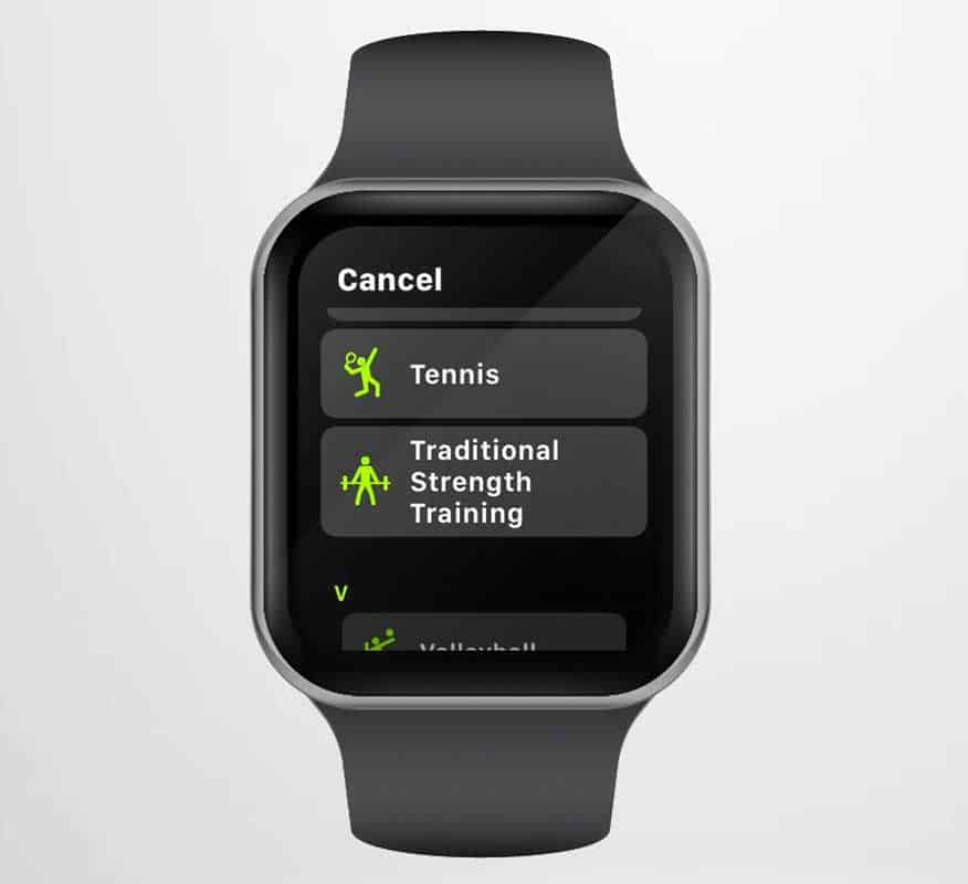 Apple Watch workout app option for traditional strength training