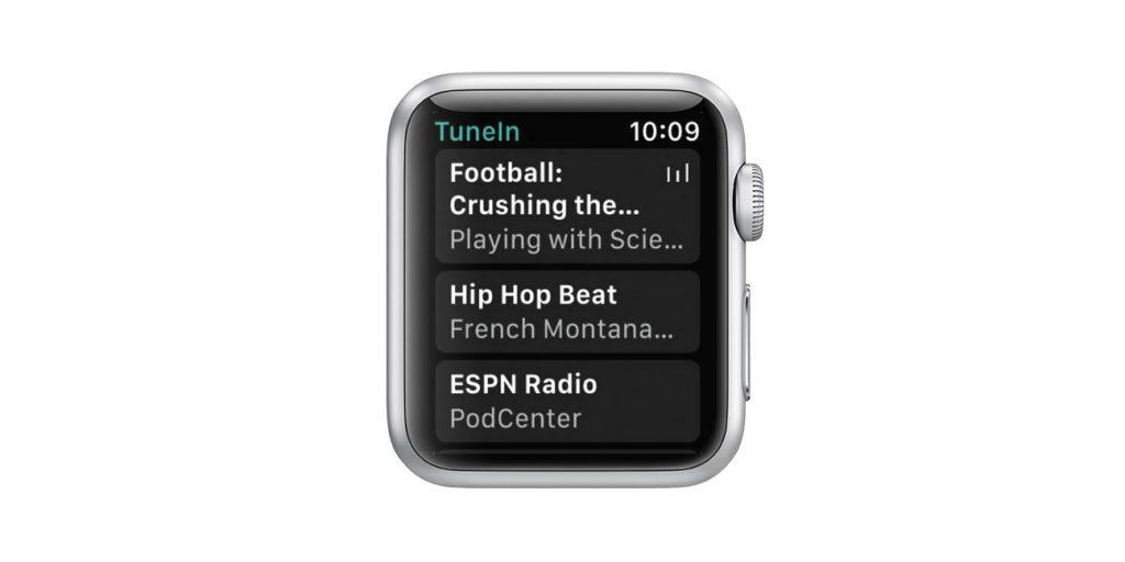 Apple Watch TuneIn app